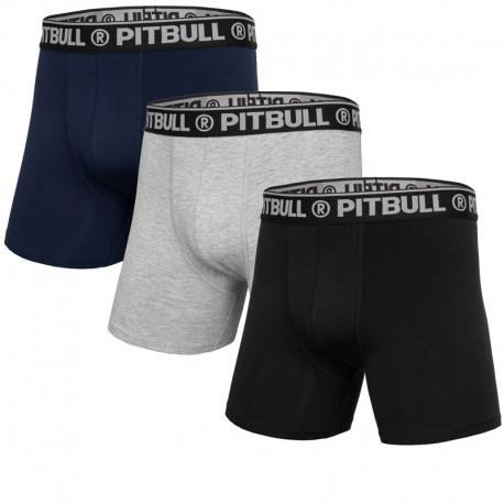 PIT BULL bokserki 3 PACK PITBULL navy/grey/black